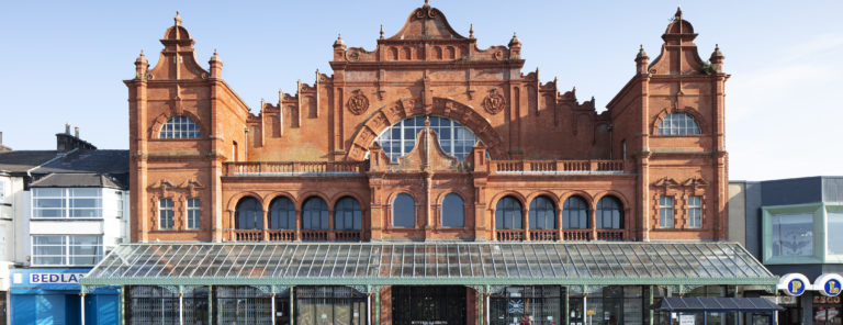 Heritage At Risk 2019. Morecambe Winter Gardens, 209 Marine Road Central, Morecambe, Lancashire. Exterior, north elevation, view from north.